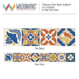 Do It Yourself Painted Stairs Pattern - Old World Spanish Talavera Tiles Decals for Stair Risers - Wallternatives