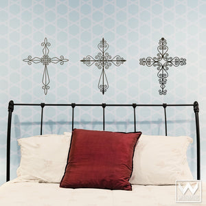 Peel and Stick Wall Art for Bedroom or Living Room - Wrought Iron Cross Vinyl Wall Decals - Wallternatives