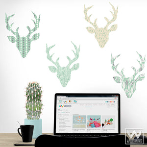 Blue Patterned Deer Heads and Deer Antlers - Modern and Rustic Removable Wall Decals