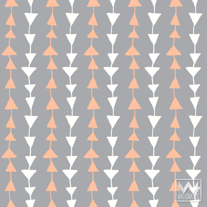 Peel And Stick Removable Wallpaper On Accent Wall In Modern Dorm Room Decor Or Orange Nursery