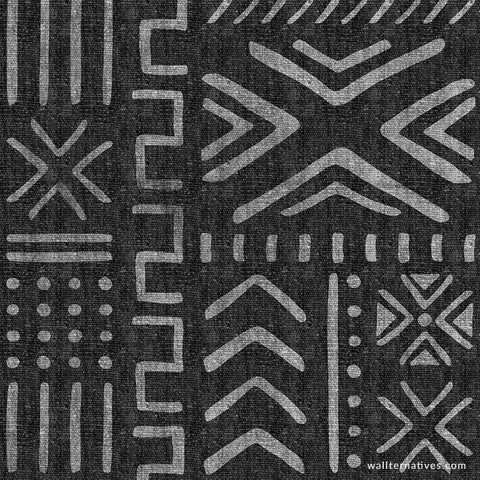 Peel-and-Stick Removable Wallpaper Black And White Abstract Mudcloth Hand Drawn
