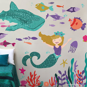 Mermaid and Whale Shark Wall Art Designs - Under The Sea Ocean Removable Wall Decals - Wallternatives