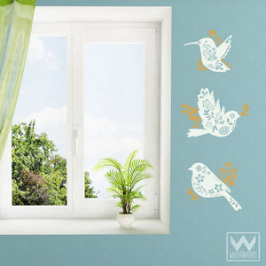 Spring Floral Birds Vinyl Wall Decals for Nursery Decorating - Wallternatives