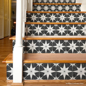 You're A Star Tile Stair Riser Decals: White on Black