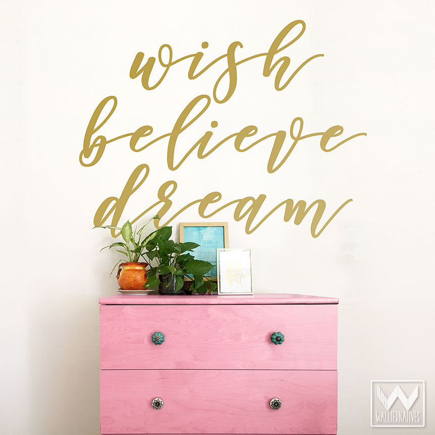 Wish Believe Dream Wall Quote Stickers