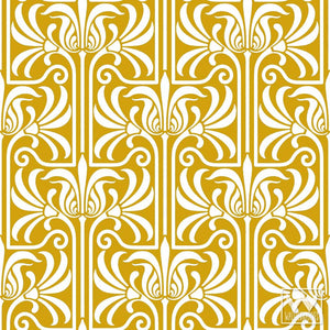 yellow gold deco art nouveau feather flower damask removable adhesive
