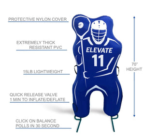 Elevate 11th Man Inflatable Lacrosse Goalie Shot Blocker and shooting target. Set up in under 2 minutes