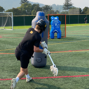 lacrosse dodging and shooting drill screen shots with the elevate dummy defender