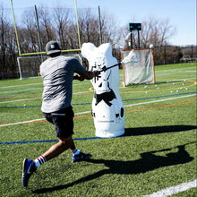 Load image into Gallery viewer, Kyle Harrison dodging and screen shots Elevate 11th Man Inflatable Lacrosse Goalie Shot Blocker and shooting target. Lacrosse Goalie Mannequin