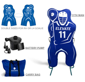 Elevate 11th Man Inflatable Lacrosse Goalie Shot Blocker and shooting target. Set up in under 2 minutes battery pump, carry bag.