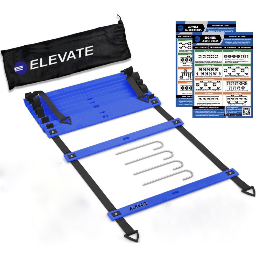 elevate agility ladder with carry bag and drill charts with video training. Easy to use speed ladder for everyone