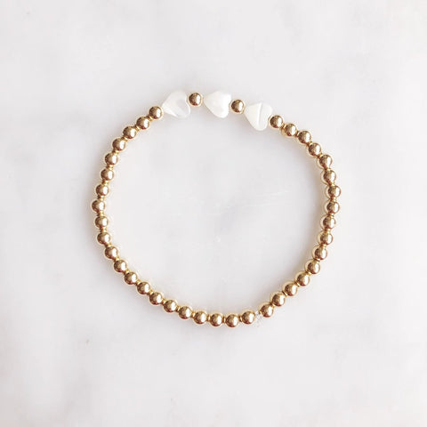 Three of Hearts: Small Gold Beads + Mother of Pearl Hearts