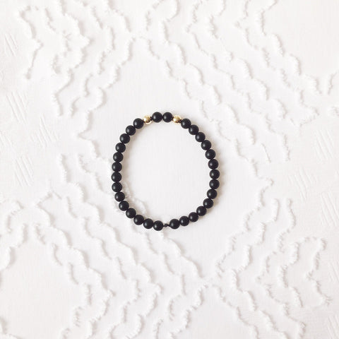 The Sam: Black Beads with Gold