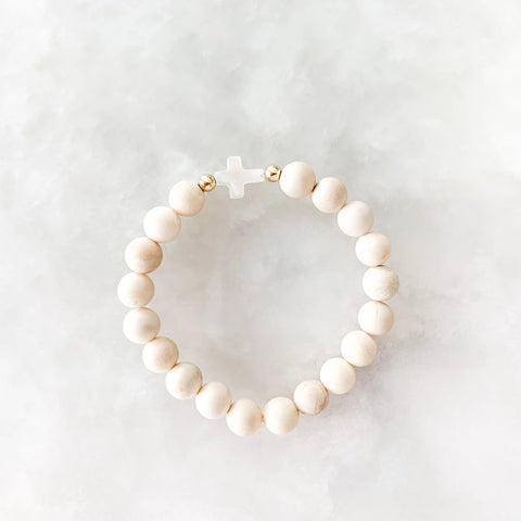 Say a Prayer: Cream Beads + Mother of Pearl Cross