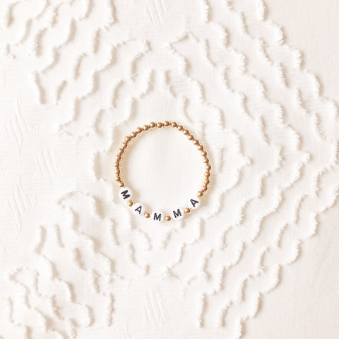 The Letter Bracelet: Gold with White Letter Beads