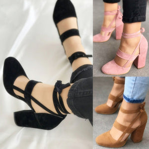 Women Sexy Artificial Suede Thick High Heeled Shoes Summer Party Lace up Sandals - NETTEa