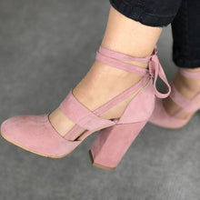 Load image into Gallery viewer, Women Sexy Artificial Suede Thick High Heeled Shoes Summer Party Lace up Sandals - NETTEa