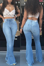 Load image into Gallery viewer, Flare Jeans Women Ripped Wide Leg Jeans Denim Trousers Vintage Bell Bottom Jeans High Waist Pants Ladies Push Up Calca Jeans - NETTEa