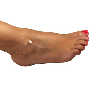 Sexy Women Pearl Rose Gold Ankle Chain Anklet Bracelet Foot Jewelry Sandal Beach - NETTEa