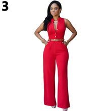 Load image into Gallery viewer, Women's Fashion Summer Autumn Sleeveless V Neck High Waist Jumpsuit with Belt - NETTEa