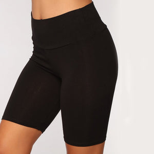 Women Thin Fitness Short Pants Casual Ladies Slim Pants High-Waist Summer Bottom Knee-Length Black Shorts Bodycon Streetwear - NETTEa