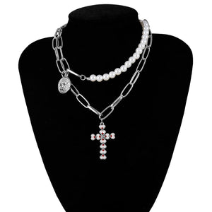 IngeSight.Z Punk Multi Layered Pearl Choker Necklace Collar Statement Virgin Mary Coin Crystal Pendant Necklace Women Jewelry - NETTEa