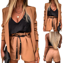 Load image into Gallery viewer, Women Two-Piece Suit Waistcoat And Shorts Set Solid Color Vest Coat Single Button Yellow Sleeveless Blazers With Shorts Suit D30 - NETTEa