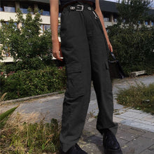 Load image into Gallery viewer, Weekeep Women Casual Pockets Patchwork Cargo Pants 2020 High Waist Straight Trousers Women Pants - NETTEa