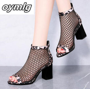 Summer mesh Peep Toe sandals sexy heels single shoes women shoes in Europe America 2020 spring summer Pumps gauze mujer - NETTEa