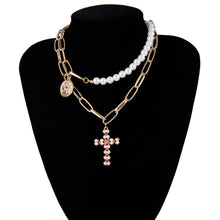 Load image into Gallery viewer, IngeSight.Z Punk Multi Layered Pearl Choker Necklace Collar Statement Virgin Mary Coin Crystal Pendant Necklace Women Jewelry - NETTEa