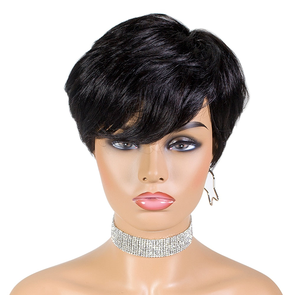 SSH Short Human Hair Wigs Pixie Cut Straight Remy Brazilian Hair for Black Women Machine Made Highlight Color Cheap Glueless Wig - NETTEa
