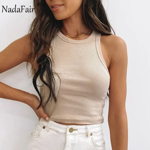 Nadafair Ribbed Tank Top Women White 2020 Summer Casual Fitness Short Vest Candy Colors Knitted Off Shoulder Sexy Crop Top Women - NETTEa