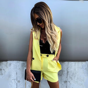 Women Two-Piece Suit Waistcoat And Shorts Set Solid Color Vest Coat Single Button Yellow Sleeveless Blazers With Shorts Suit D30 - NETTEa