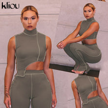 Load image into Gallery viewer, Kliou elastic hight fitness tracksuit two piece set women asymmetry outfit turtleneck fashion crop top+pants streetwear clothes - NETTEa