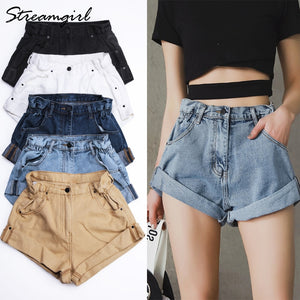 Streamgirl Denim Shorts Women's White Women Short Jeans Khaki Wide Leg Elastic Waist Vintage High Waist Shorts Women Summer - NETTEa