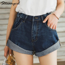 Load image into Gallery viewer, Streamgirl Denim Shorts Women's White Women Short Jeans Khaki Wide Leg Elastic Waist Vintage High Waist Shorts Women Summer - NETTEa
