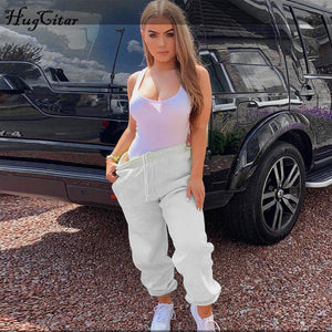 Hugcitar Cotton High Waist Losse Baggy Cargo Pants 2019 Autumn Winter Fitness Trousers Streetwear Outfits - NETTEa