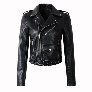 New Arrival 2020 brand Winter Autumn Motorcycle leather jackets yellow leather jacket women leather coat  slim PU jacket Leather - NETTEa