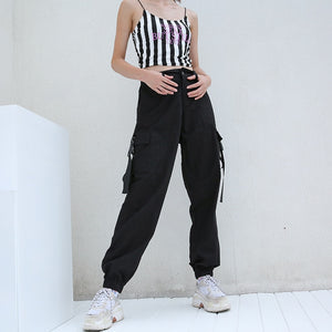HEYounGIRL Streetwear Cargo Pants Women Casual Joggers Black High Waist Loose Female Trousers Korean Style Ladies Pants Capri - NETTEa