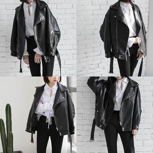 [EAM] High Quality 2020 Spring Black PU Leather Loose Turn-down Collar Zipper Fashion New Women's Wild Jacket LA938 - NETTEa