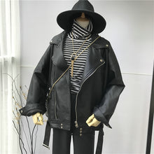 Load image into Gallery viewer, [EAM] High Quality 2020 Spring Black PU Leather Loose Turn-down Collar Zipper Fashion New Women's Wild Jacket LA938 - NETTEa