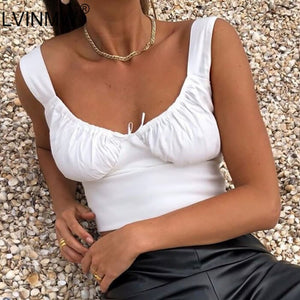 LVINMW  White Spaghetti Straps Low Cut Bow Ruches Crop Top 2019 Summer Women Sleeveless Camisole Top Female Skinny Bralette - NETTEa