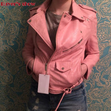 Load image into Gallery viewer, New Arrival 2020 brand Winter Autumn Motorcycle leather jackets yellow leather jacket women leather coat  slim PU jacket Leather - NETTEa
