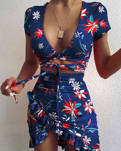 Cryptographic Floral Print Fashion Tie Up Wrap Mini Dress 2020 Summer Holiday Ruffles Sundress Ruched Women's Dress Short Sleeve - NETTEa