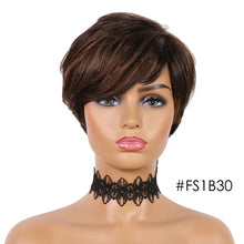 Load image into Gallery viewer, SSH Short Human Hair Wigs Pixie Cut Straight Remy Brazilian Hair for Black Women Machine Made Highlight Color Cheap Glueless Wig - NETTEa