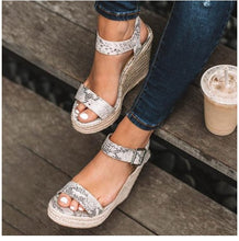 Load image into Gallery viewer, Women's sandals summer new sandals women's large size spot wedge buckle belt European  American open toe high heel women's shoes - NETTEa