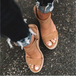 Women's sandals summer new sandals women's large size spot wedge buckle belt European  American open toe high heel women's shoes - NETTEa