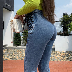 OKUOHAO High Waist Hips Tight Jeans Female Sense Europe And The United States 2020 Spring and Summer Slim Feet Pants Nine Pants - NETTEa