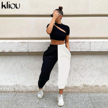 Load image into Gallery viewer, Kliou 2019 high waist black&white patchwork sporty harem pants autumn winter women loose casual sporty streetwear trousers - NETTEa