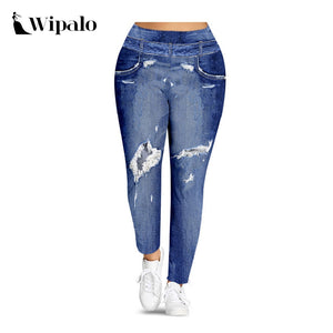 Wipalo Women Plus Size S-5XL Imitation Denim 3D Print Leggings High Waist Sexy Skinny Leggings Ladies Casual Pants Leggins 2019 - NETTEa
